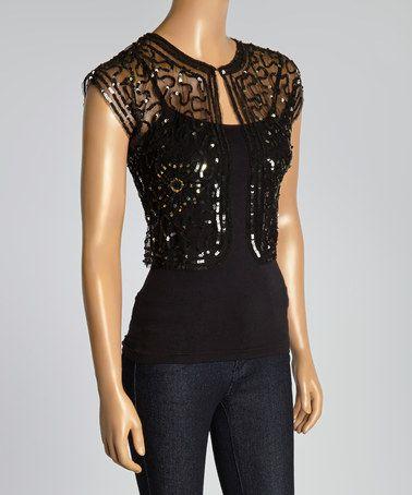 Look what I found on #zulily! Black Sheer Sequin Appliqué Open Cardigan #zulilyfinds