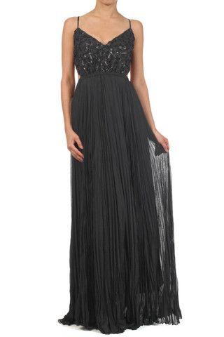 Womens Sexy Black Full Length Open Back Dress
