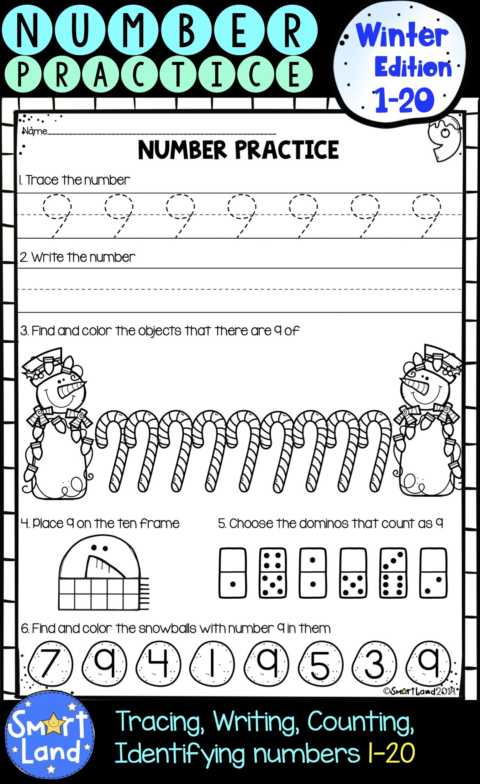 Numbers 1 20 Handwriting And Counting Practice Worksheets Winter Edition Preschool Math Worksheets Writing Numbers Writing Practice