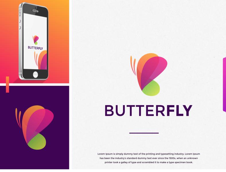 butterfly color logo design by Jenggot Merah