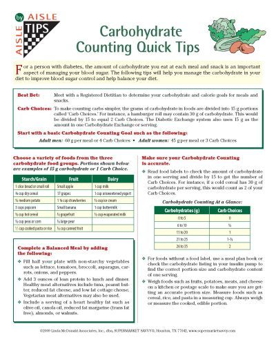 Free Print Carb Counter Chart TSD5 Carb Counting Quick Tips