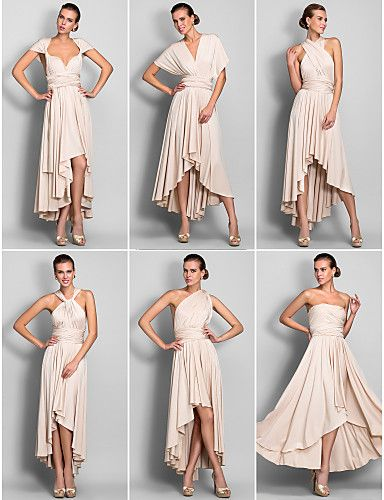 A Line V Neck Asymmetrical Jersey Bridesmaid Dress With Sash Ribbon Pleats By Lan Ting Bride