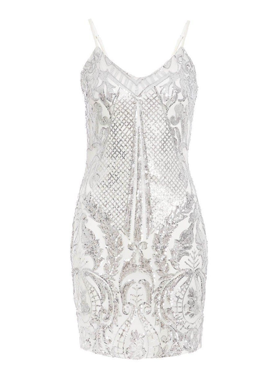 White and Silver Sequin Bodycon Dress