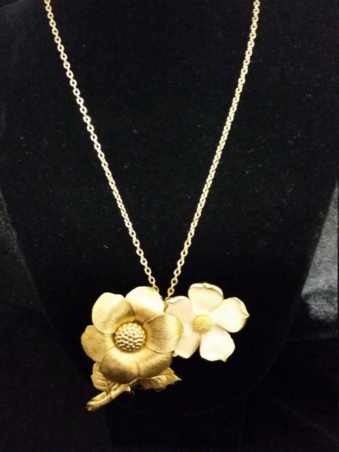 Timeless Classic Upcycled Repurposed Vintage Flower Brooch Necklace by VaccarosVtgJewelry on Etsy