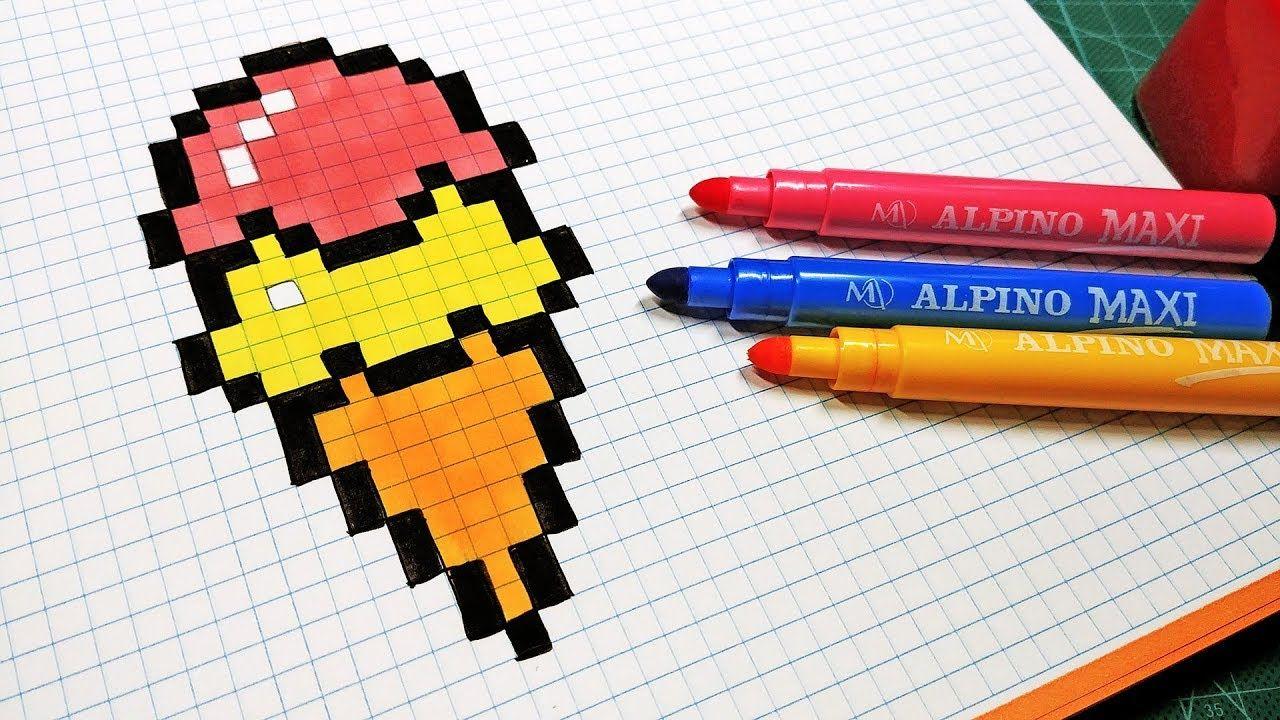 Pixel Art Hecho A Mano Cómo Dibujar Un Helado Pixel Art