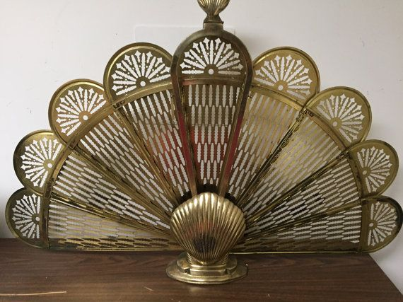 Vintage Peacock Clamshell Fireplace Screen Brass by ShaysRevival