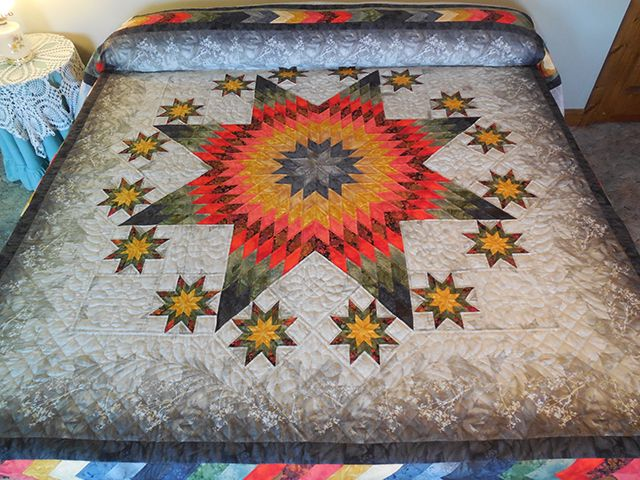 Stars Over Texas Quilt -- outstanding cleverly made Amish Quilts from Lancaster (hs7331)