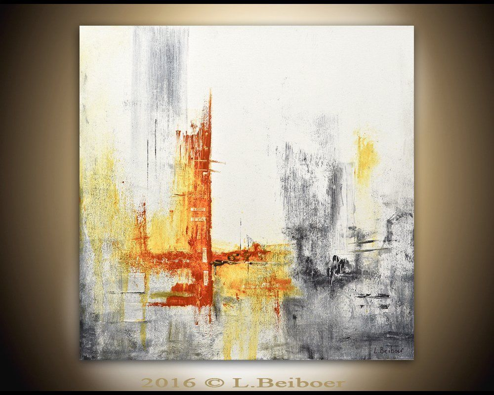 original modern abstract art contemporary oil painting gray white  - original modern abstract art contemporary oil painting gray white yellowoil painting artwork wall art canvas