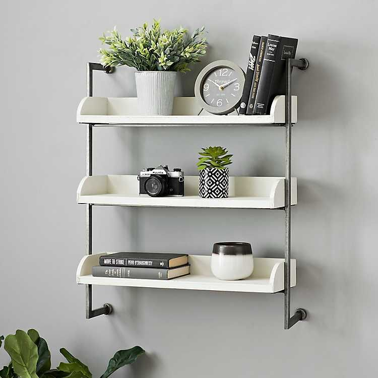 White 3 Tier Wall Shelf With Chrome