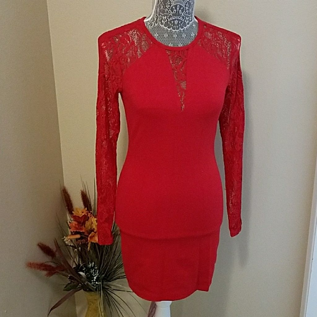 Guess short red sexy dress long sleeve products