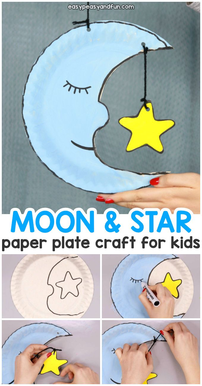 Moon Paper Plate Craft for Kids #craftsforkids