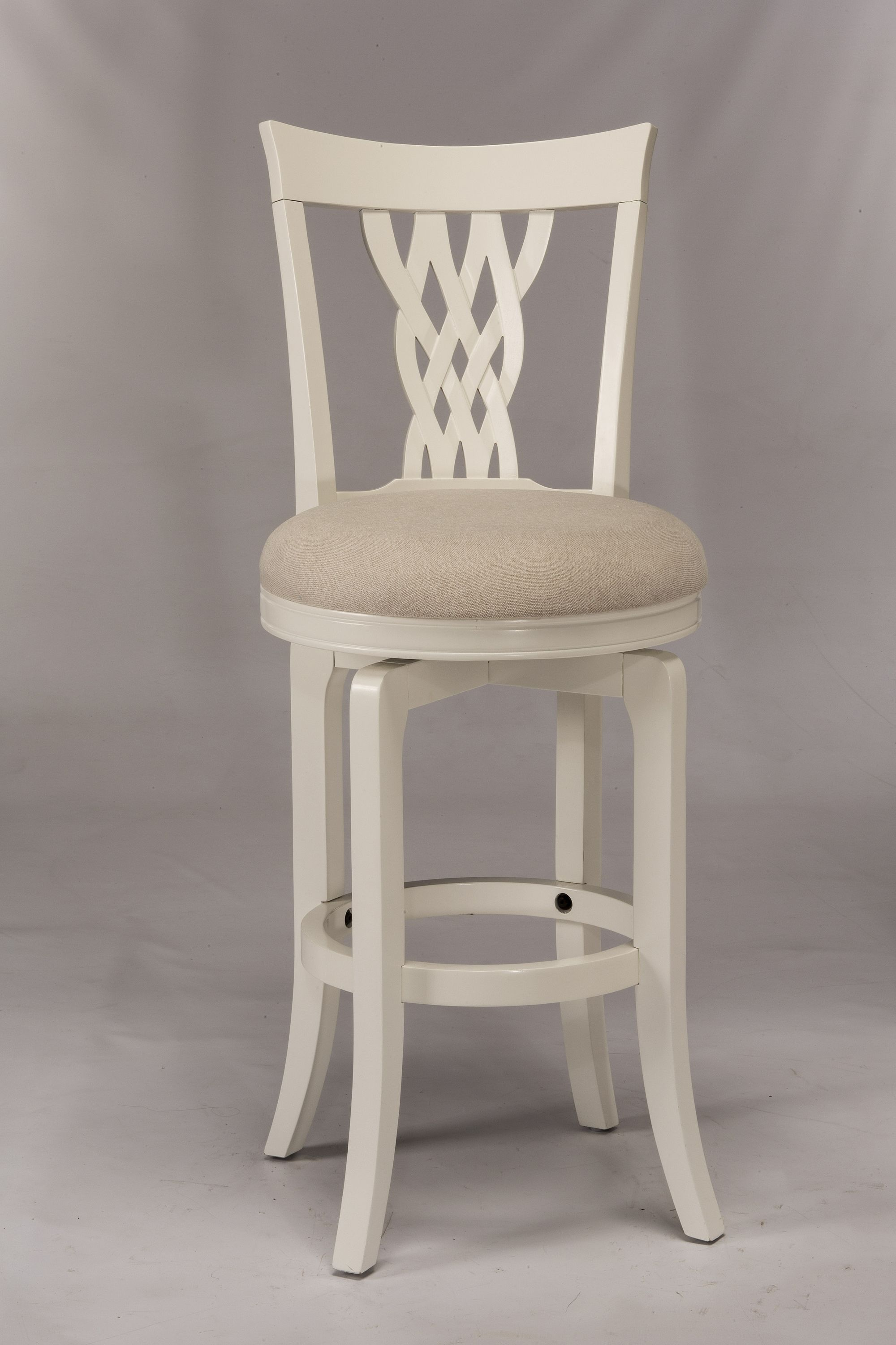 Wood Stools White Swiveling Counter Stool With Braided Wooden Back
