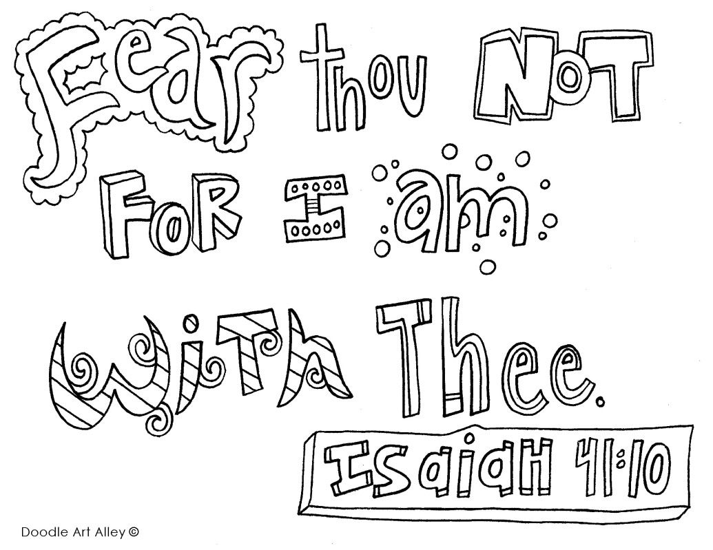 Fearthounot Doodle Colouring Sheets Bible Verse