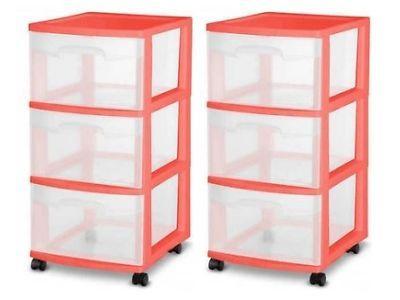 3 Drawer Plastic Rolling Cart Storage Box Sterilite Organizer Cabinet C Set  Of 2