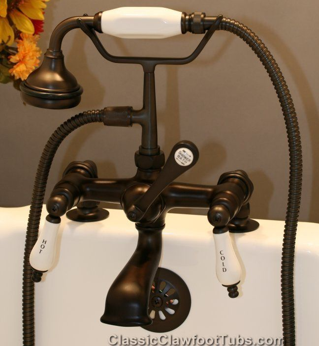 Clawfoot Tub Deckmount British Telephone Faucet W Hand Held Shower Sh463 Clic