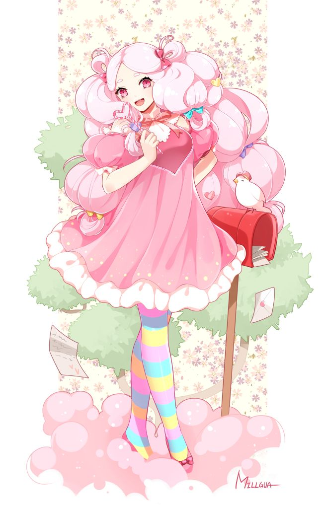 Tags anime pixiv id 15565263 cookie run cotton candy cookie letters yellow bow puffy - Barbe a papa personnage ...