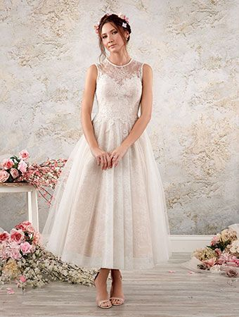 A Tea Length Shabby Chic Wedding Dress With A Sleeveless Sheer - Shabby Chic Wedding Dress