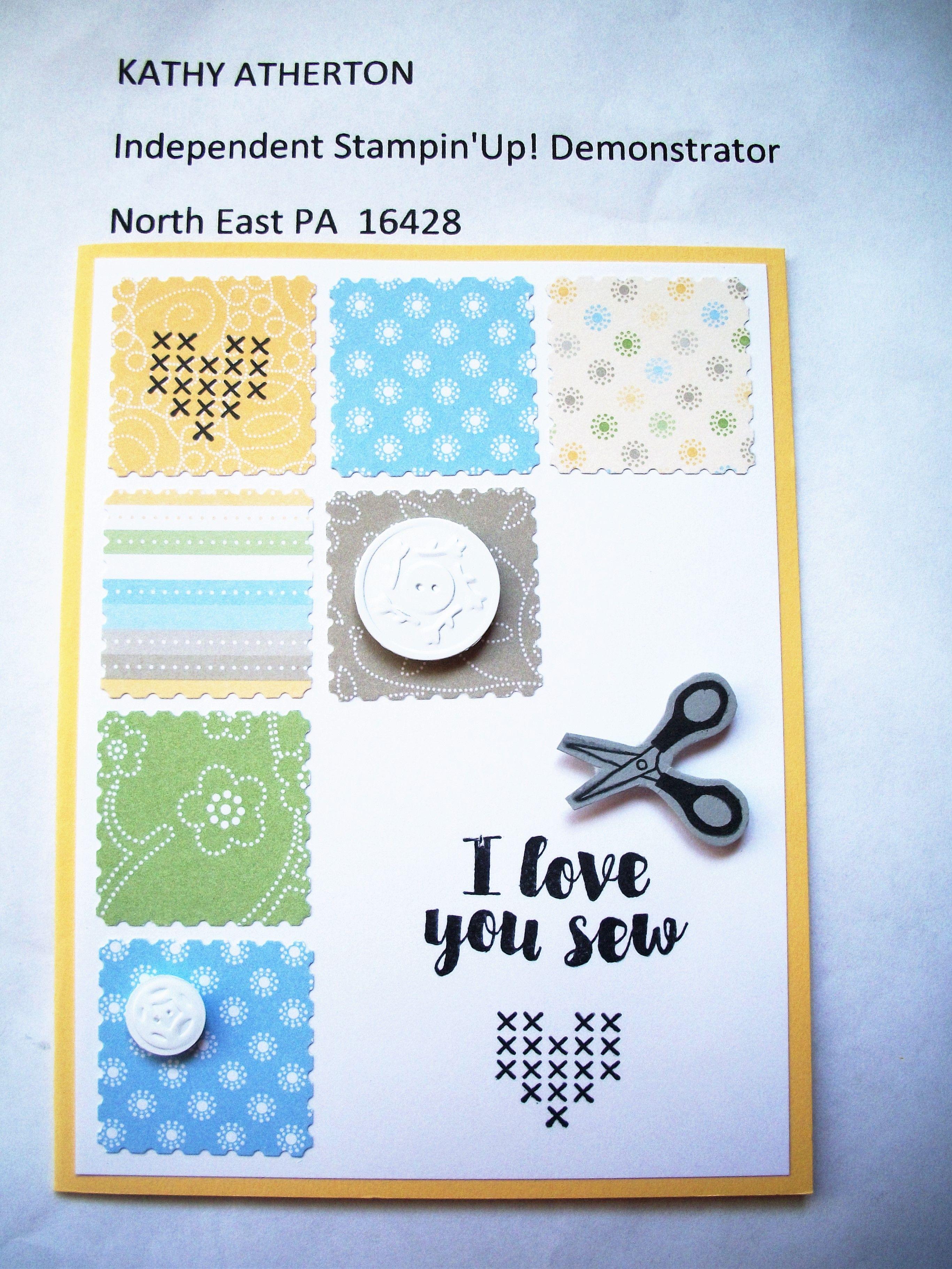 Kathy's April 2016 Stamp Camp Card #4 - SU Hostess set Love You Sew