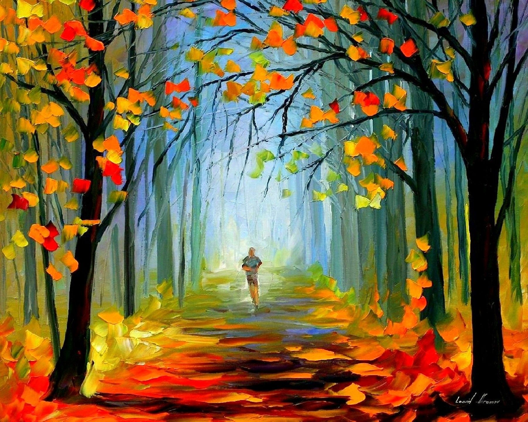 Stunning Paintings Fall Season Creative Downloaded Man Leaves Nature ...