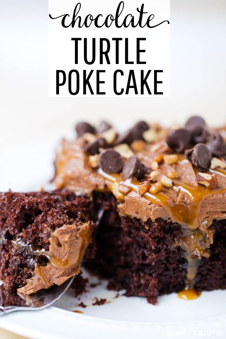 Chocolate Turtle Poke Cake Chocolate Turtle Poke Cake - Filled with ooey gooey caramel and topped with even more caramel, chocolate and nuts. This poke cake recipe is super easy, quick and absolutely delicious!