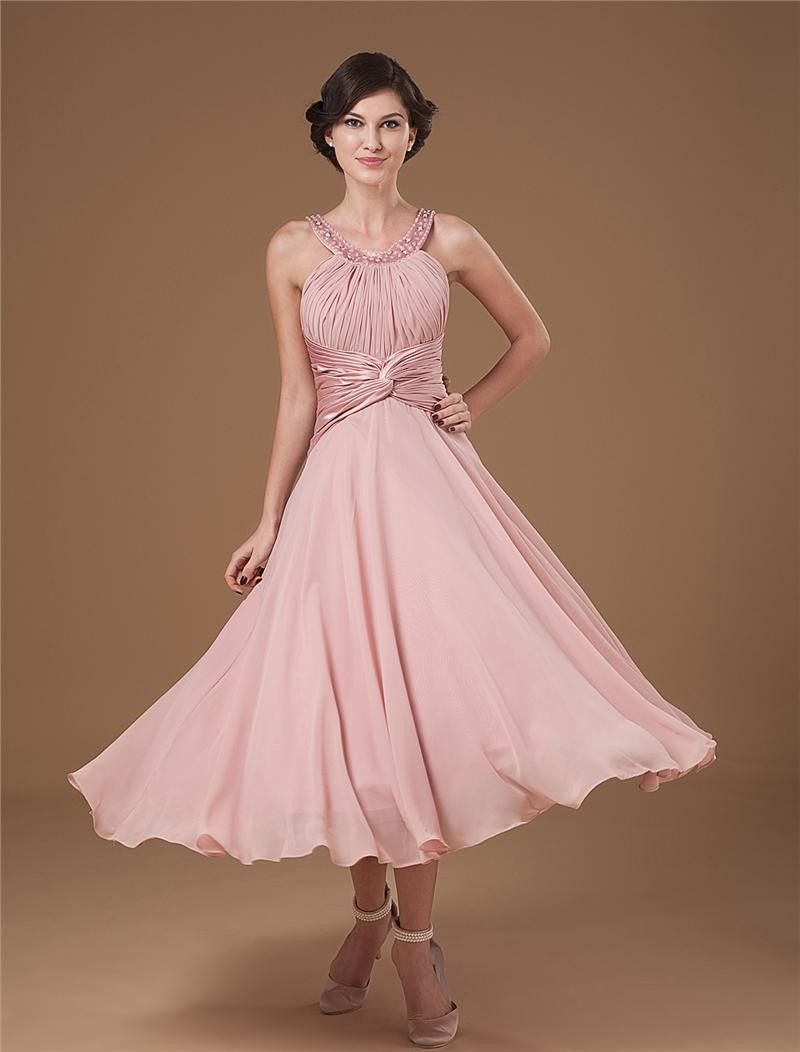 0b8a738af14  106 27dress.com cusom made Chiffon Ruffle Halter Beading Tea Length Mothers  of Bride   Guests Dresses.  promdress  pinkdress  chiffondress  27dresses