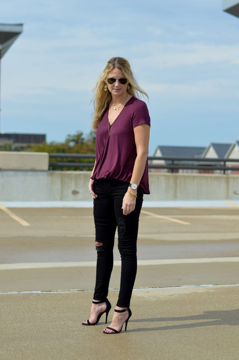 Lush Burgundy Cross Front Shirt | Style in a Small Town