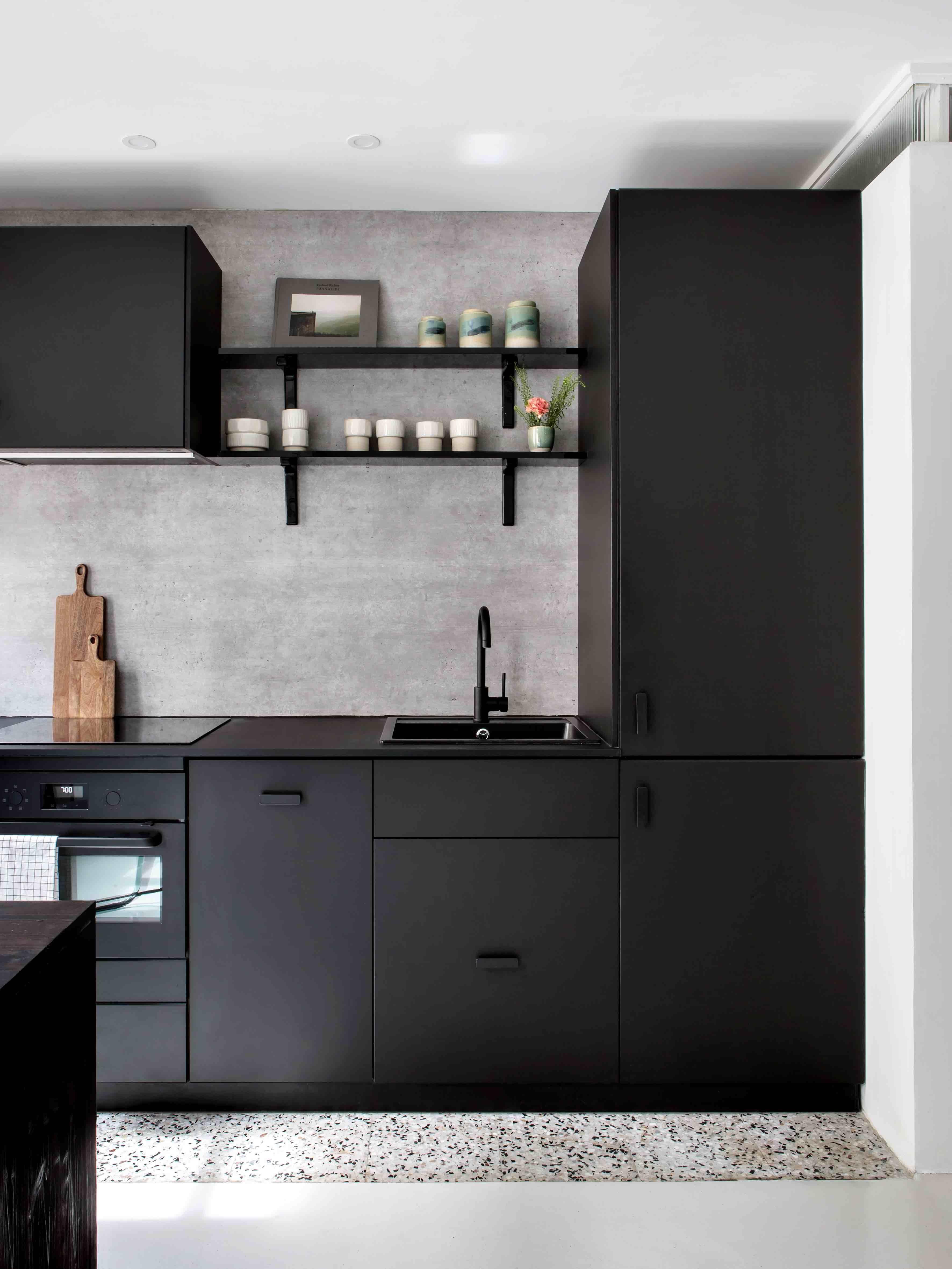 Loft, Atelier, Bois, Cuisine Noire, Black Kitchen