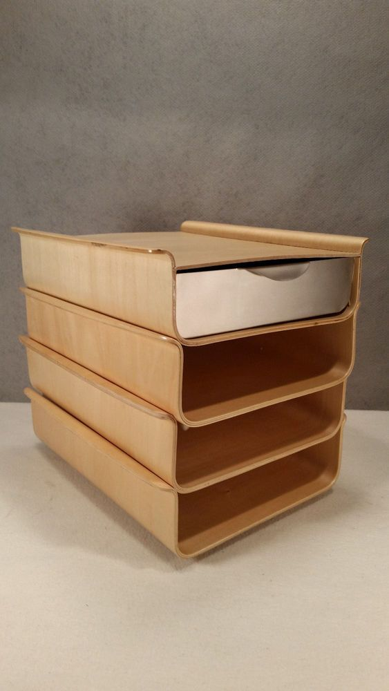 Rare Michael Graves Bent Wood Plywood Mod Eames Stacking Desk Organizer Cool Desk Organization Bent Wood Modern Office Supplies