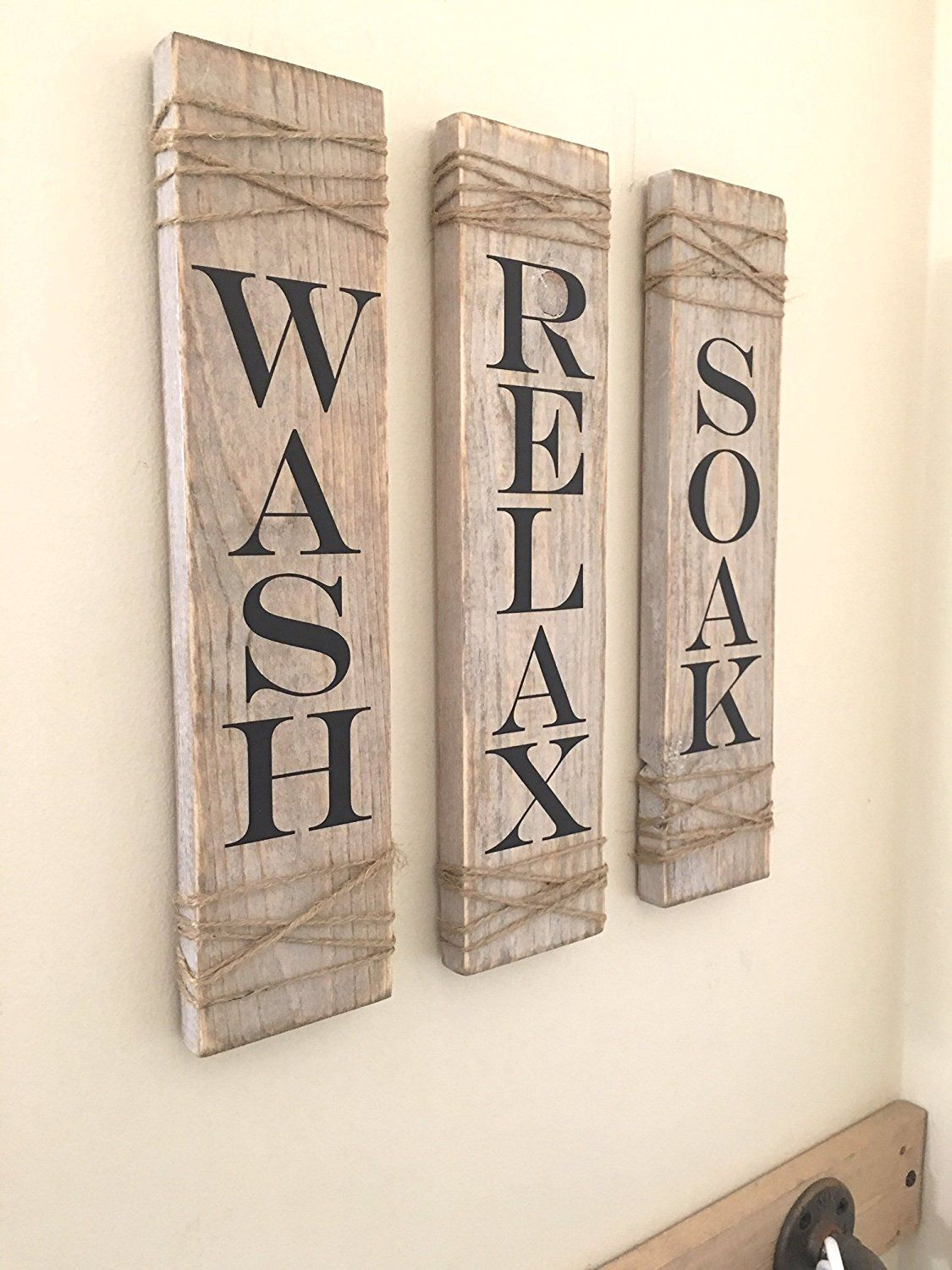 Blukatkraft Diy Quick Easy Wall Art For Bathroom: Rustic Bathroom Signs,SET OF THREE, Farmhouse Bathroom