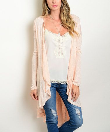 Shop the Trends Peach Hi-Low Drape Cardigan | Peach, Chic clothing ...