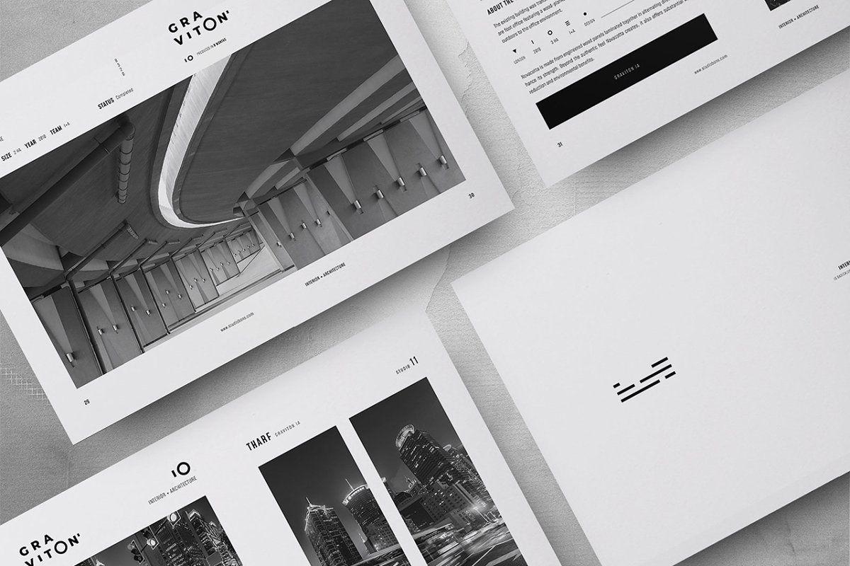 Ad Graviton Architecture Portfolio By Studio Bons On Creativemarket Gravit In 2021 Architecture Portfolio Architecture Portfolio Template Brochure Design Template