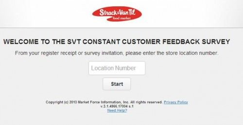 Strack  Van Til Customer Feedback Survey WwwMysvtfeedbackCom