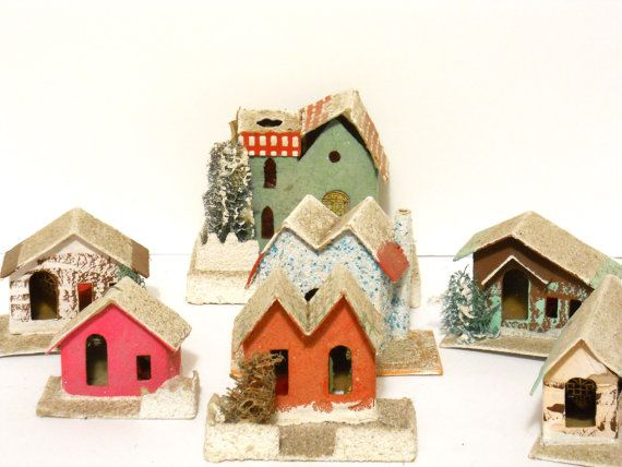 Vintage Antique Miniature Putz Paper And Cardboard Houses Village Cardboar Antique Christmas Decorations Holiday Crafts Halloween Vintage Christmas Decorations