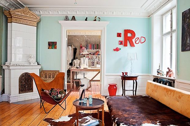 Amazing Teal And Red Living Room.
