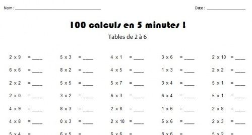 D fi 100 tables de multiplication apprendre en francais for Exercice de multiplication
