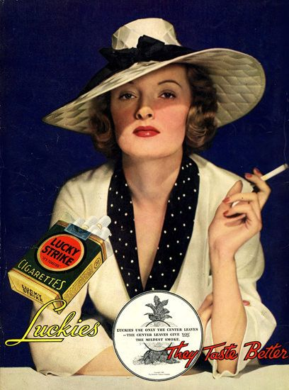 Lucky Strike Cigarettes Lady 1935 - www.MadMenArt.com | Vintage Ads with Sex Appeal. Over 2000 vintage designs which could be said to have sex appeal. The blurred line between sex appeal and sexism. #Advertising #Vintage #Ads #VintageAds #SexAppeal