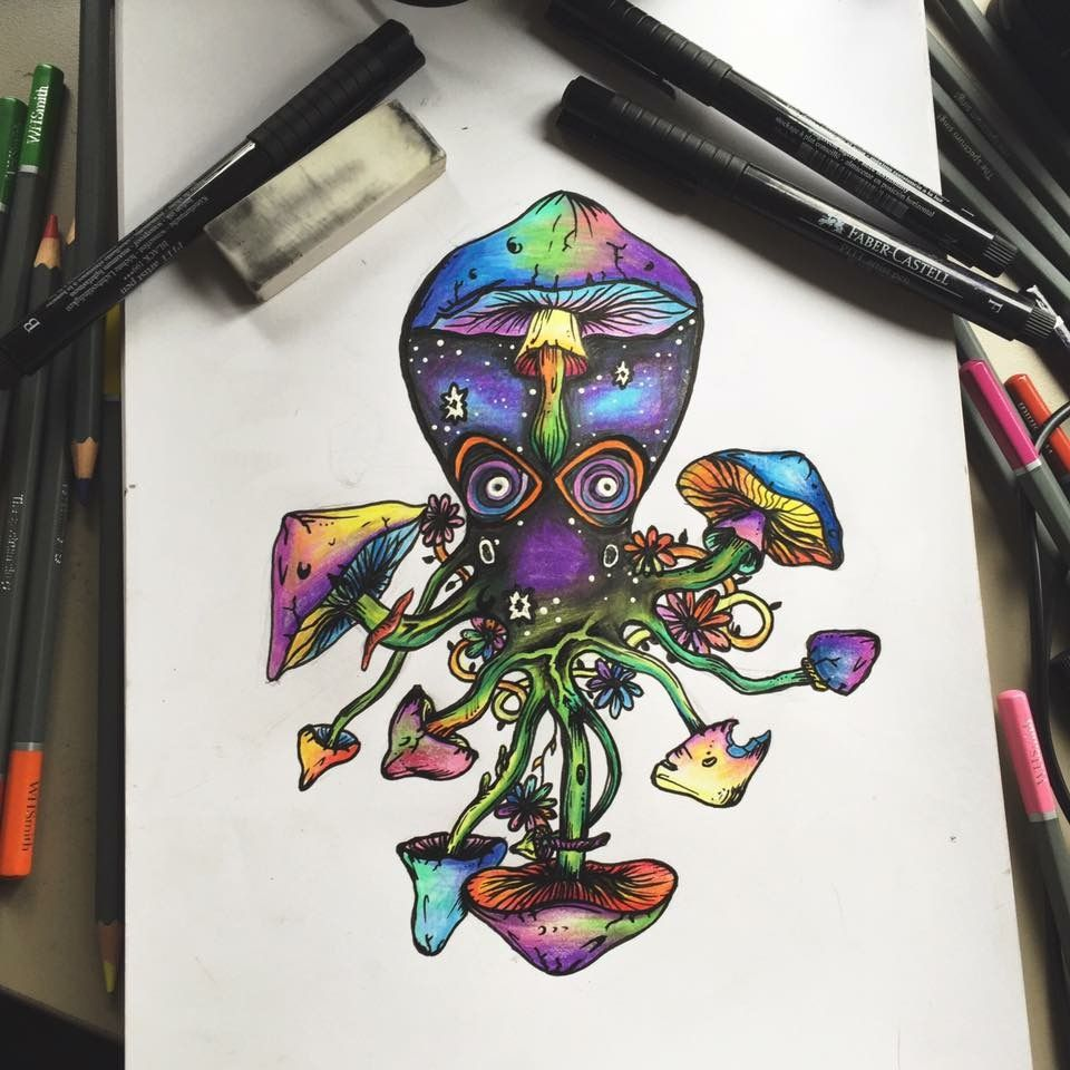 Trippy multicolour octopus drawing in pen and pencils ...