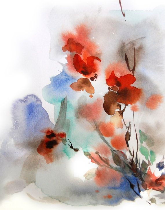 Abstract Floral Watercolor Painting Art Print Orange Blue Grey