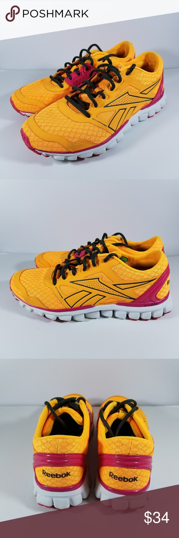 Reebok RealFlex 4 running shoes stepping around yellow