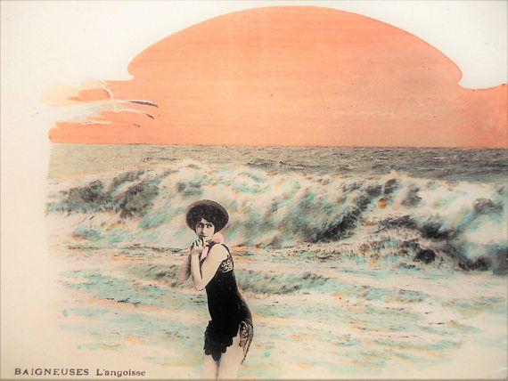 Antique bathing beauty postcard  Edwardian girl sexy woman
