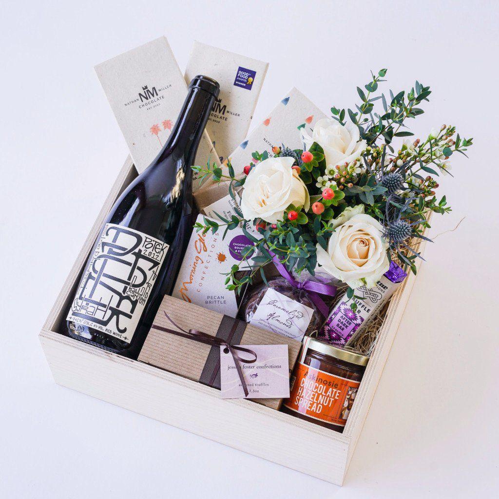 Chocolate Wine Gift Box With Flowers Flower Box Wine Gift