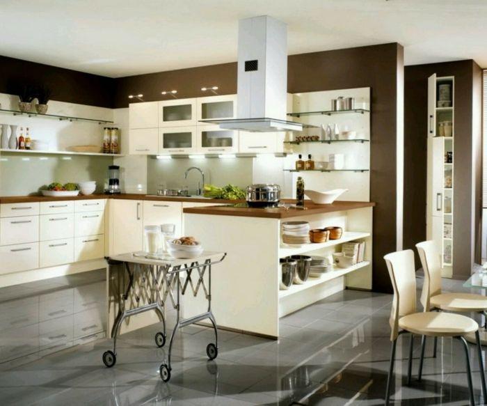 wandfarbe küche wände streichen ideen dunkle wandfarbe ... - Wandregale Für Küche