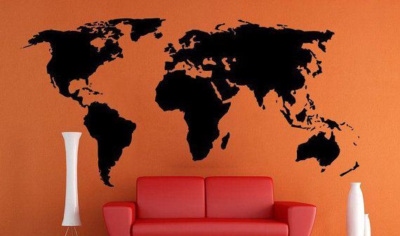 Monde Carte Wall Decal Par Tgo2014 Sur Etsy Inspiration