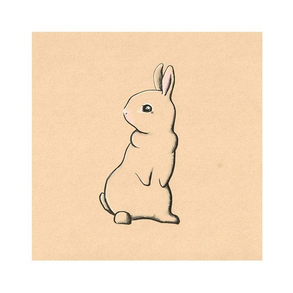 Items Similar To Rustic Rabbit Art Print For Children On Etsy Cute DrawingsSimple