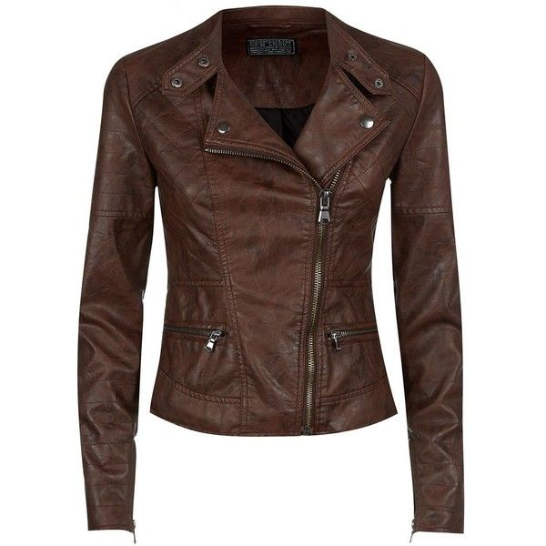 Chocolate Brown Leather Look Zip Pocket Biker Jacket 62 Found On Polyvore Brown Faux Leather Jacket Fake Leather Jacket Leather Jackets Women