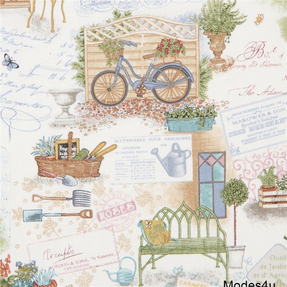bc3525cccb cream with cute garden bicycle fabric Andover USA Antique Garden Retro  Fabric