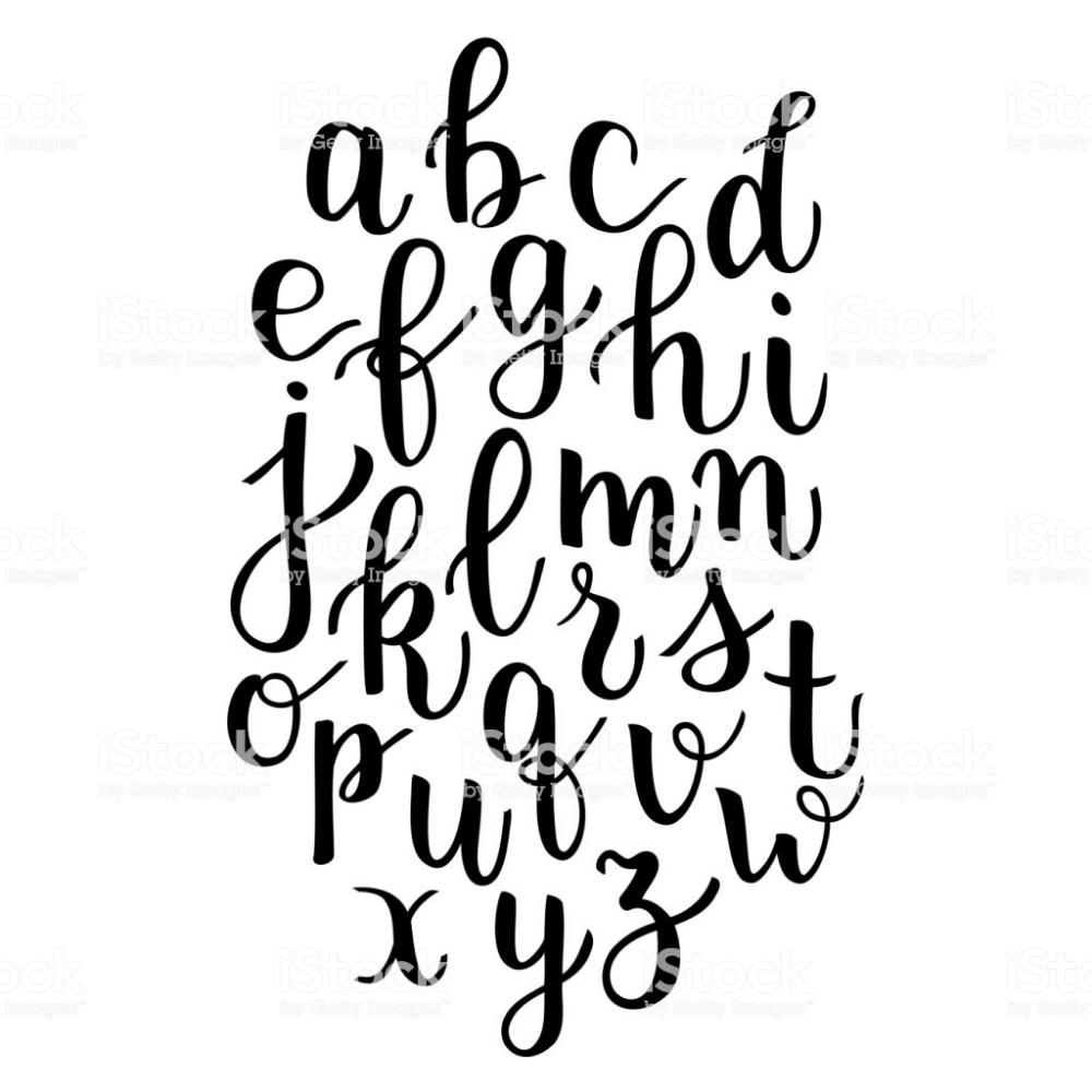 Modern calligraphy bounce lettering alphabet hand written