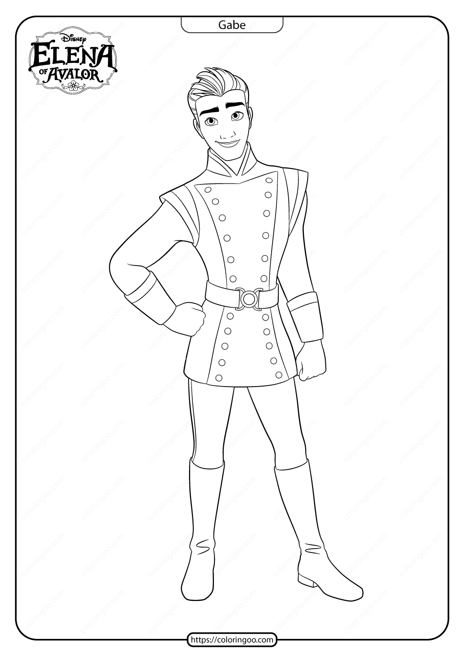 Printable Elena Of Avalor Gabe Coloring Pages In 2020 Disney Character Drawings Coloring Pages Disney Coloring Pages