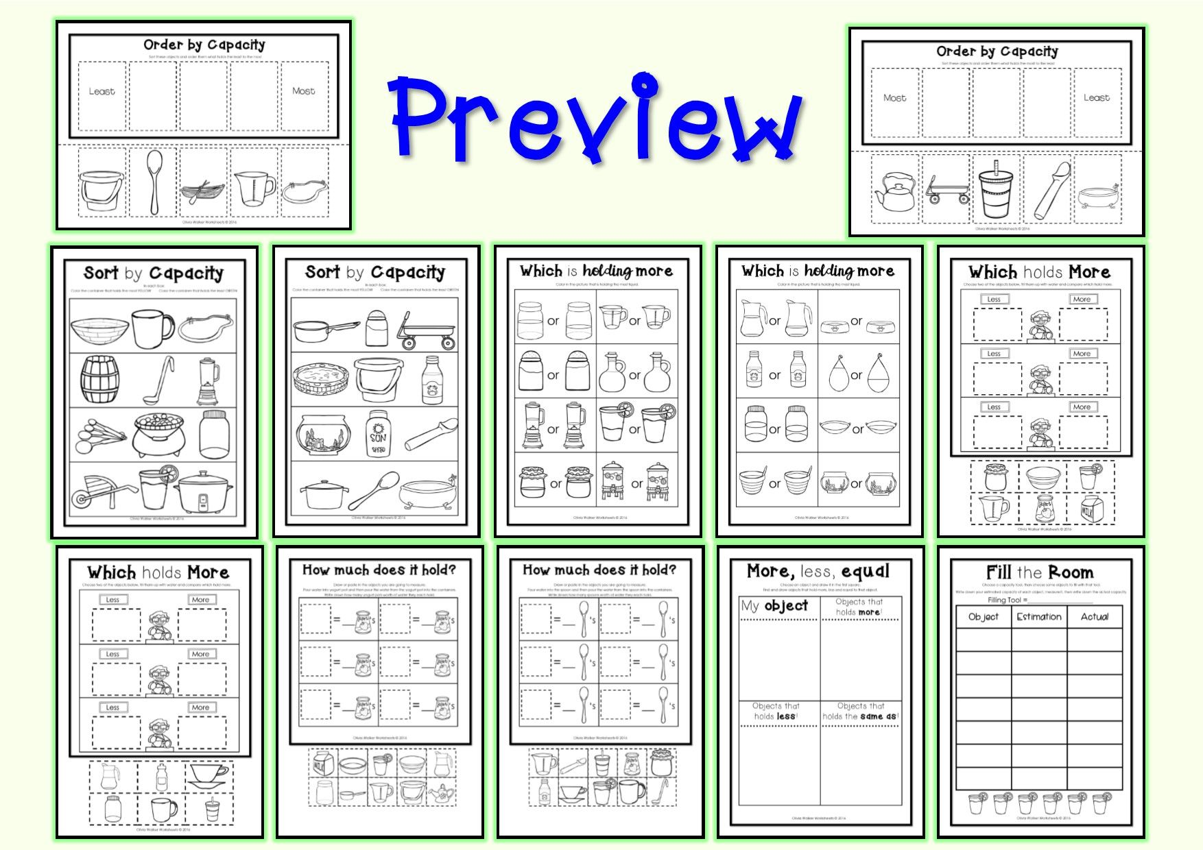 Various Worksheet Based Activities For Capacity Sorting