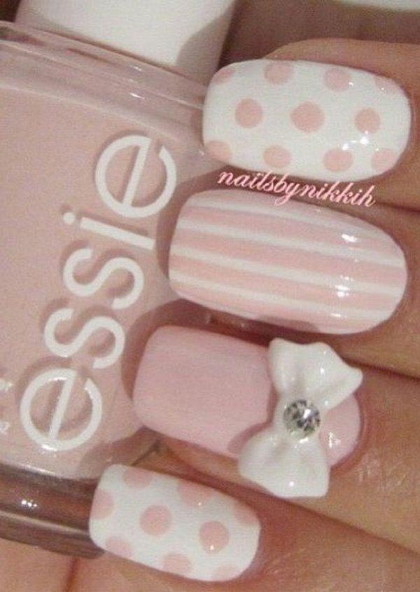 Pale Pink Nail Designs With Stripes Polka Dots And Bows Nail Art